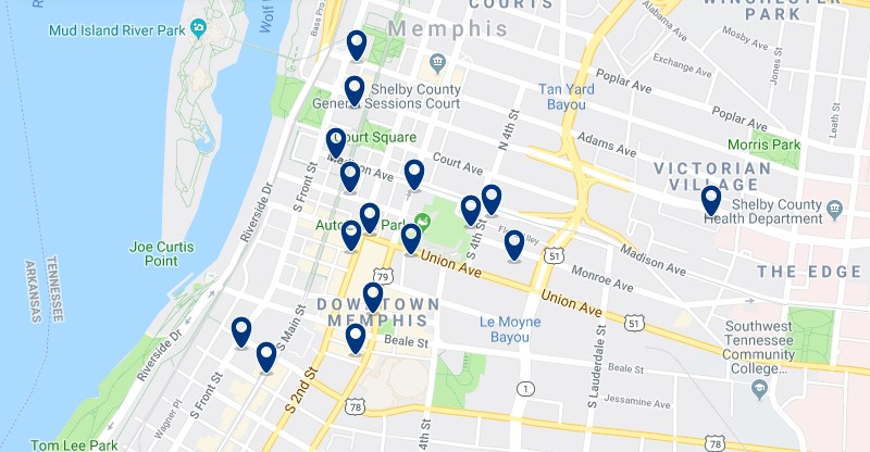 Accommodation in Downtown Memphis - Click on the map to see all accommodation in this area