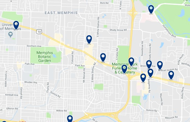 Accommodation in East Memphis - Click on the map to see all accommodation in this area