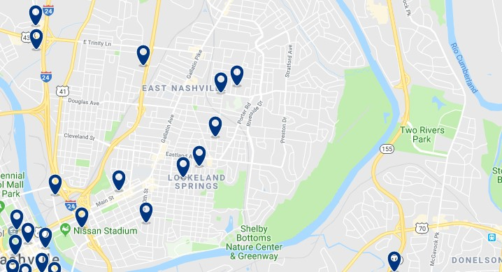 Accommodation in East Nashville - Click on the map to see all accommodation in this area
