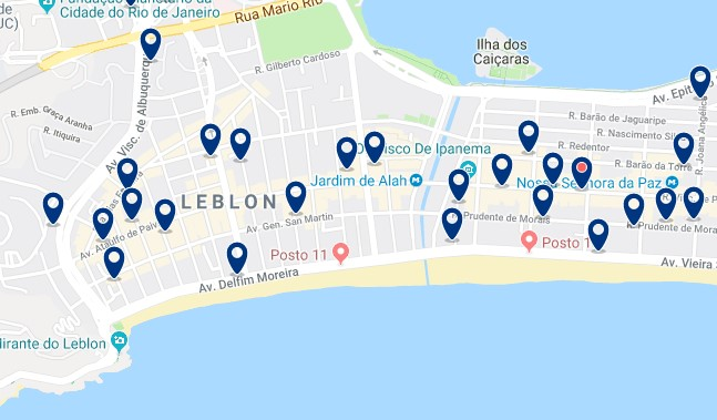 Accommodation in Leblon - Click on the map to see all available accommodation in this area