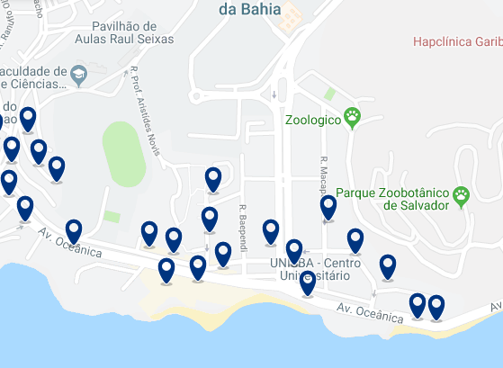 Accommodation in Ondina – Click on the map to see all available accommodation in this area