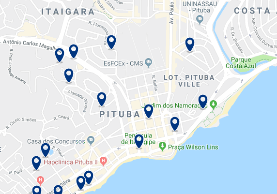 Accommodation in Pituba – Click on the map to see all available accommodation in this area