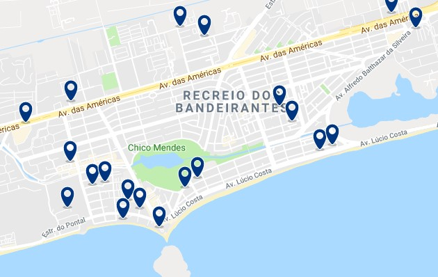 Accommodation in Recreio dos Bandeirantes - Click on the map to see all available accommodation in this area