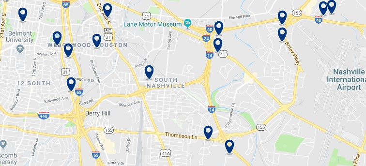 Accommodation in South Nashville - Click on the map to see all accommodation in this area