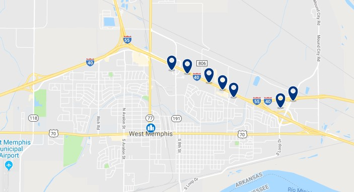 Accommodation in West Memphis - Click on the map to see all accommodation in this area