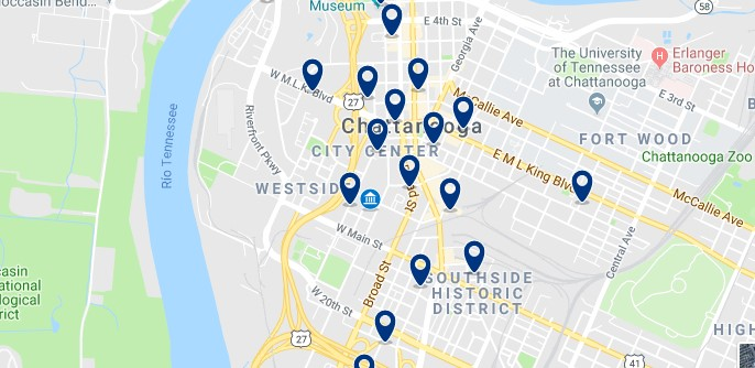 Accommodation in Chattanooga City Center - Click on the map to see all accommodation in this area