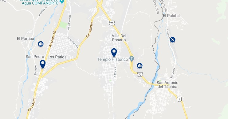 Accommodation in Villa del Rosario - Click on the map to see all available accommodation in this area