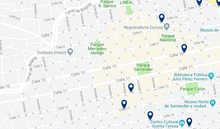 Accommodation in Cúcuta City Center - Click on the map to see all available accommodation in this area