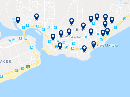 Accommodation in La Barra – Click on the map to see all available accommodation in this area