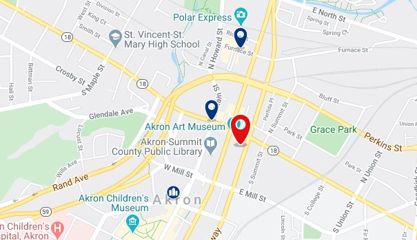Accommodation in Downtown Akron - Click on the map to see all available accommodation in this area