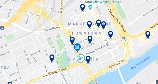Accommodation in Downtown Knoxville - Click on the map to see all accommodation in this area
