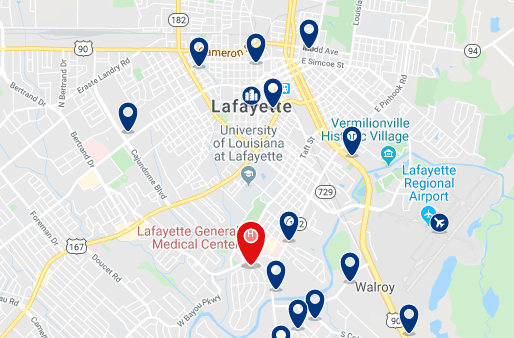 Accommodation in Downtown Lafayette - Click on the map to see all accommodation in this area