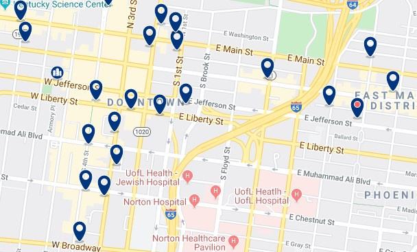 Accommodation in Downtown Louisville - Click on the map to see all accommodation in this area