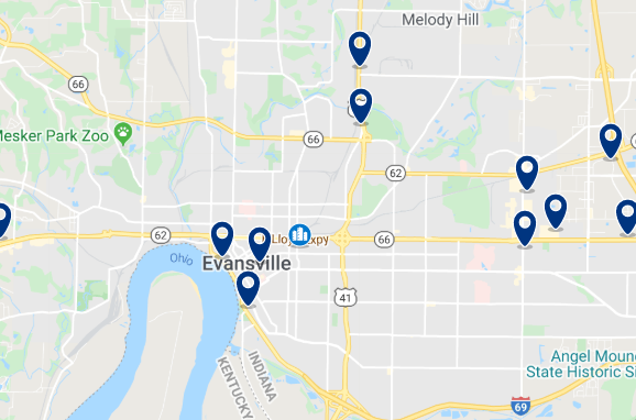 Accommodation in Downtown Evansville - Click on the map to see all accommodation in this area