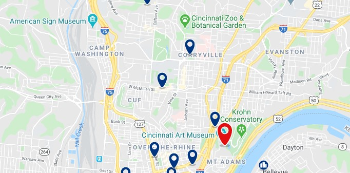 Accommodation near Cincinnati Arrt Museum - Click on the map to see all accommodation in this area