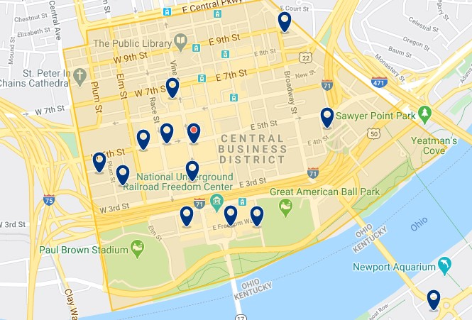 Accommodation in Downtown Cincinnati - Click on the map to see all accommodation in this area