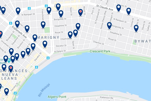 Accommodation in Faubourg Marigny - Click on the map to see all available accommodation in this area