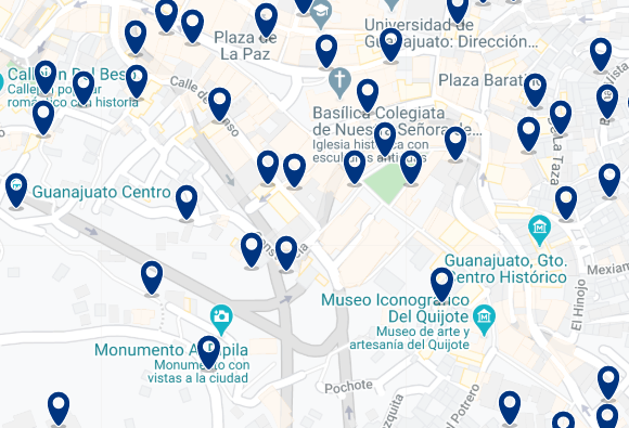 Accommodation in Guanajuato City Center - Click on the map to see all accommodation in this area