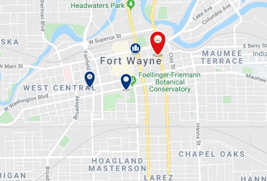 Accommodation in Fort Wayne - Click on the map to see all accommodation in this area