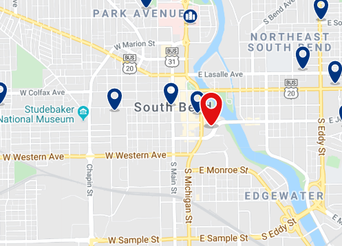 Accommodation in Downtown South Bend - Click on the map to see all available accommodation in this area