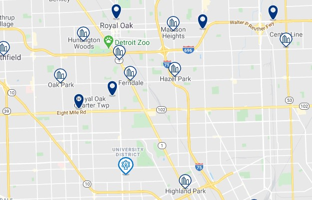 Accommodation near University of Detroit Mercy - Click on the map to see all accommodation in this area