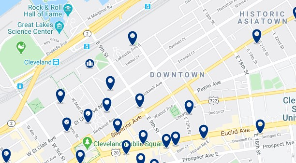 Accommodation in Downtown Cleveland - Click on the map to see all available accommodation in this area