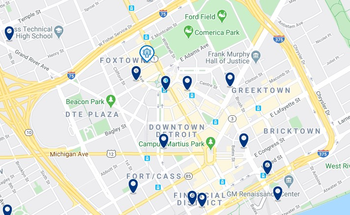 Accommodation in Downtown Detroit - Click on the map to see all accommodation in this area