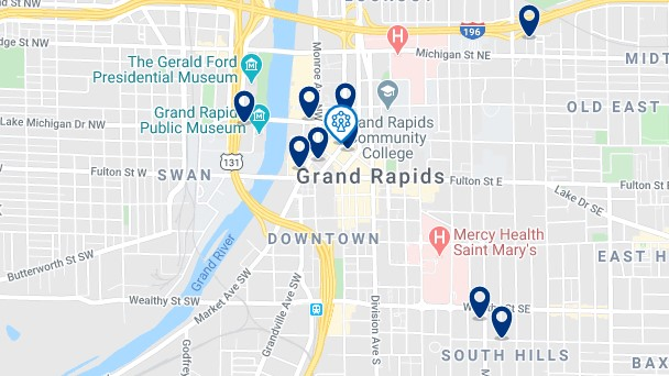 Accommodation in Downtown Grand Rapids - Click on the map to see all available accommodation in this area