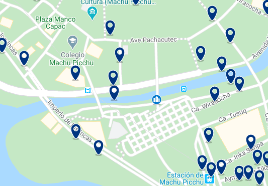 Alojamiento en Machu Picchu y Aguas Calientes - Click on the map to see all available accommodation in this area