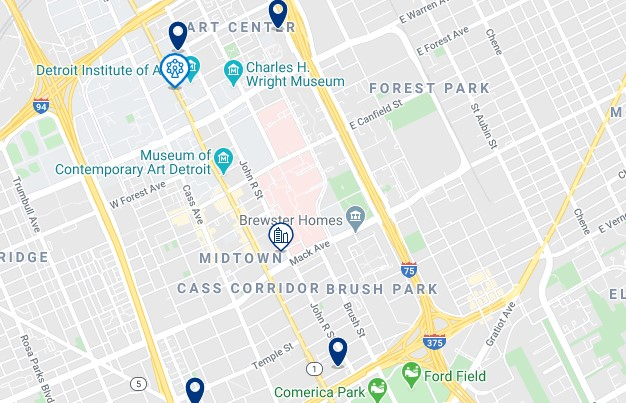Accommodation in Midtown & Art Center - Click on the map to see all accommodation in this area