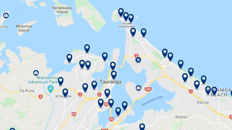 Alojamiento en Tauranga - Click on the map to see all accommodation in this area