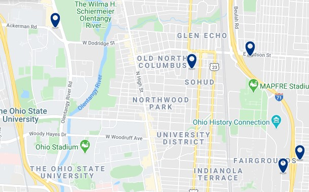 Alojamiento en University District - Clica sobre el mapa para ver todo el alojamiento en esta zona