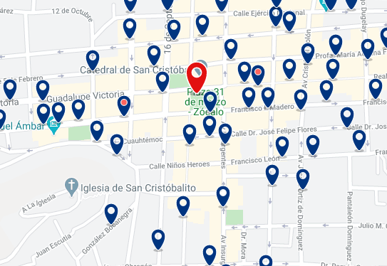 Accommodation in San Cristóbal de las Casas City Center - Click on the map to see all accommodation in this area