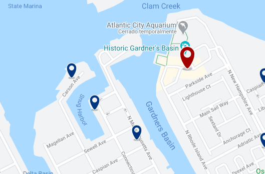 Accommodation near the Atlantic City Beach (Aquarium area) - Click on the map to see all available accommodation in this area