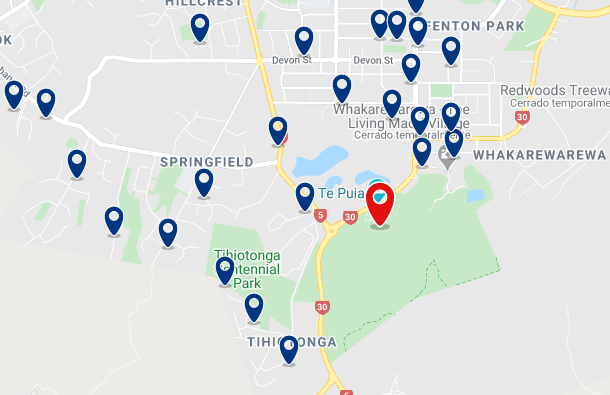 Accommodation near Te Puia - Click on the map to see all available accommodation in this area