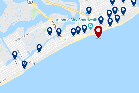 Accommodation near Atlantic City Boardwalk - Click on the map to see all available accommodation in this area