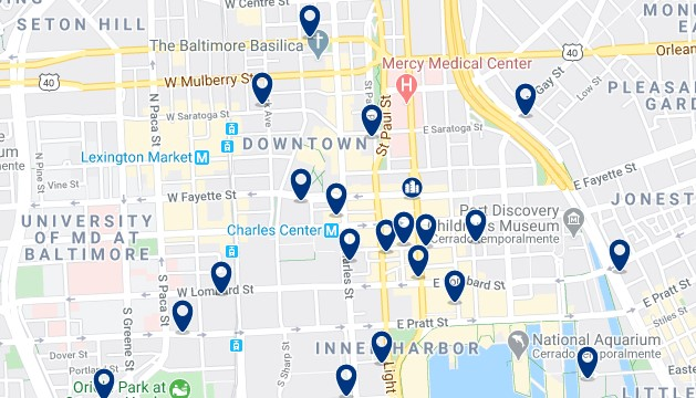 Accommodation in Downtown Baltimore - Click on the map to see all available accommodation in this area