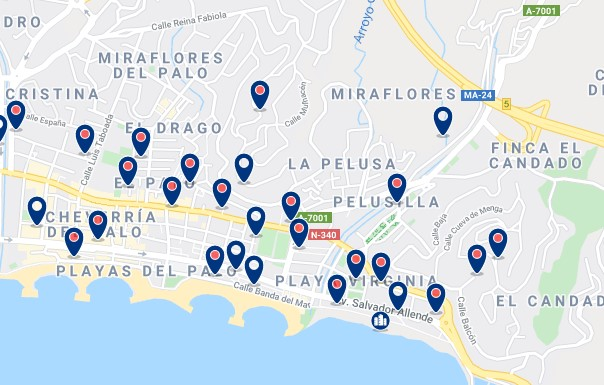 Accommodation in El Palo - Click on the map to see all available accommodation in this area