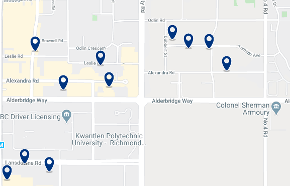 Accommodation in Golden Village Richmond - Click on the map to see all available accommodation in this area