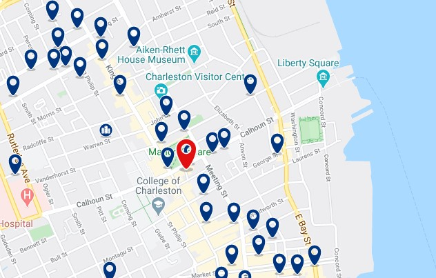 Alojamiento en Historic District & French Quarter - Click on the map to see all available accommodation in this area
