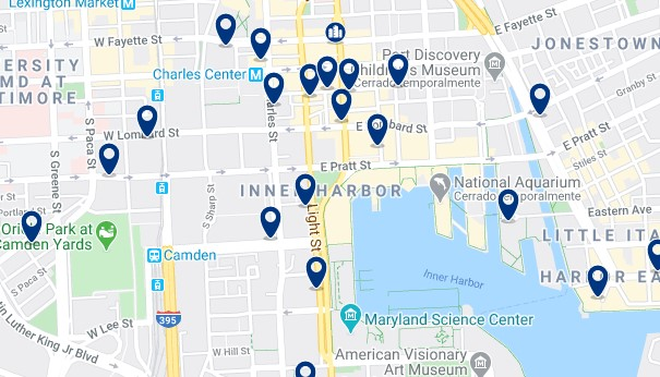 Accommodation in Inner Harbor - Click on the map to see all available accommodation in this area