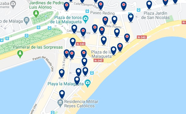 Accommodation in La Malagueta - Click on the map to see all available accommodation in this area