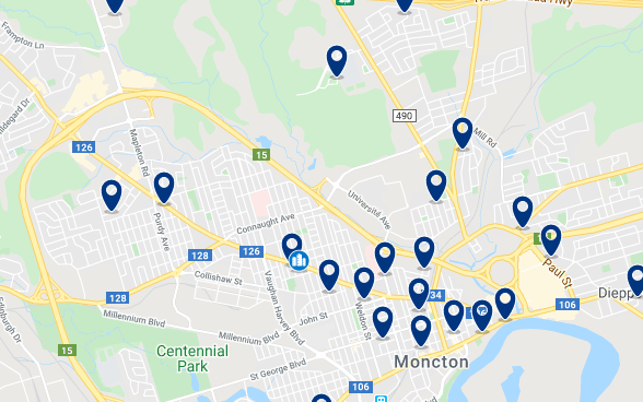 Accommodation in Moncton City Centre - Click on the map to see all available accommodation in this area