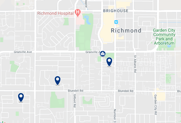 Accommodation in Richmond City Centre - Click on the map to see all available accommodation in this area