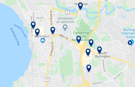 Accommodation in Downtown Burlington - Click on the map to see all available accommodation in this area
