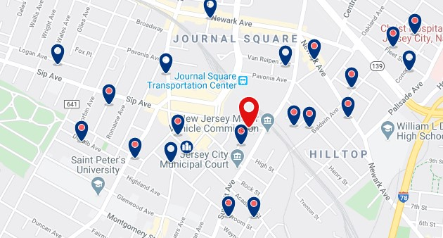Accommodation near Journal Square PATH station - Click on the map to see all available accommodation in this area