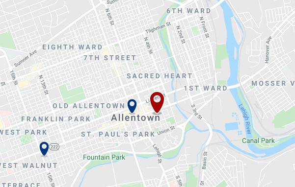 Accommodation in Downtown Allentown - Click on the map to see all available accommodation in this area