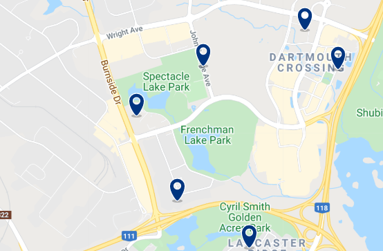 Accommodation in Downtown Dartmouth - Click on the map to see all available accommodation in this area