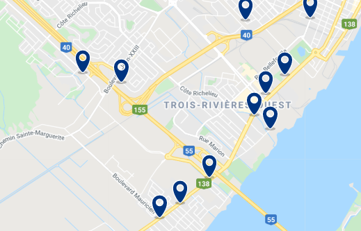 ccommodation in Trois-Rivières Ouest - Click on the map to see all available accommodation in this area