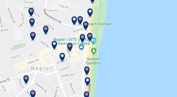 Accommodation in Napier city centre  - Click on the map to see all available accommodation in this area